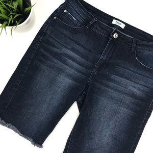 KENSIE Jeans Dark Wash Denim Bermuda Shorts